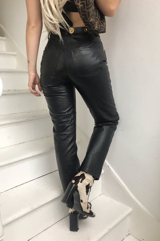 Vintage 1970s Sexy Black Real Leather Mini Skirt