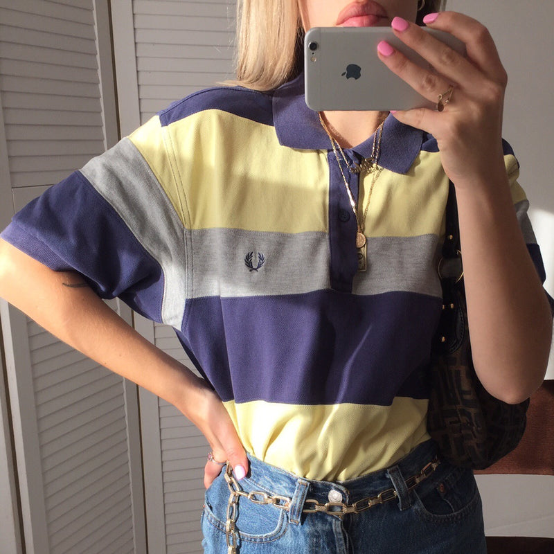 Vintage Y2K Fred Perry Navy, Yellow and Grey Fred Perry  Short Sleeved Polo Shirt