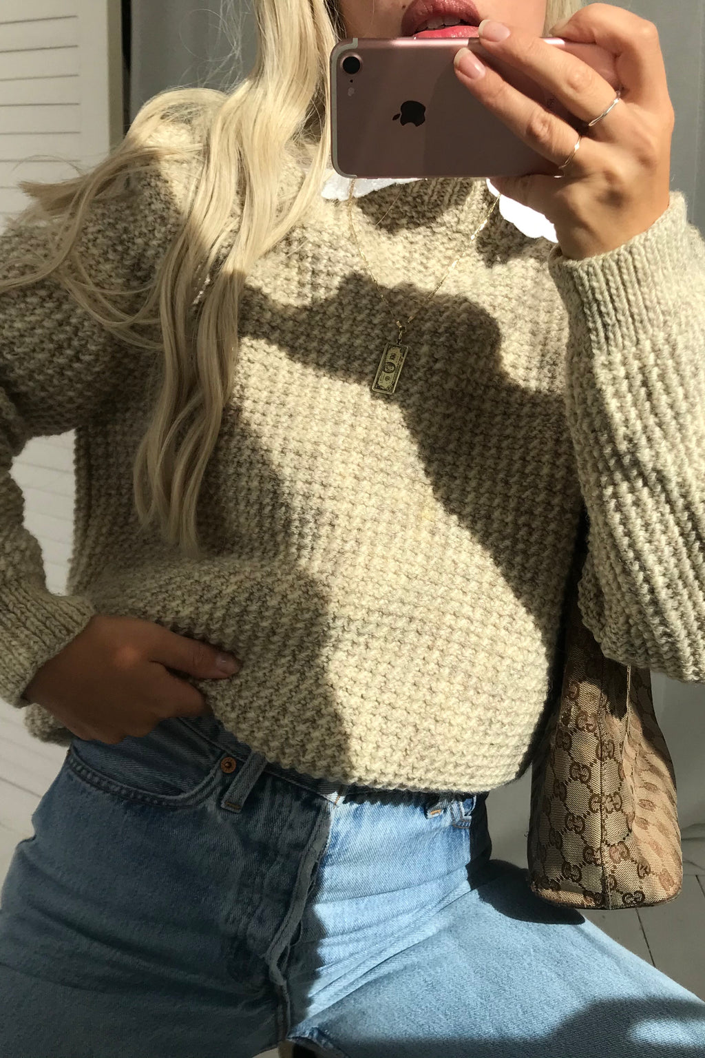 Vintage 70s Hand-knitted Beige Speckled Wool Chunky Knit Jumper