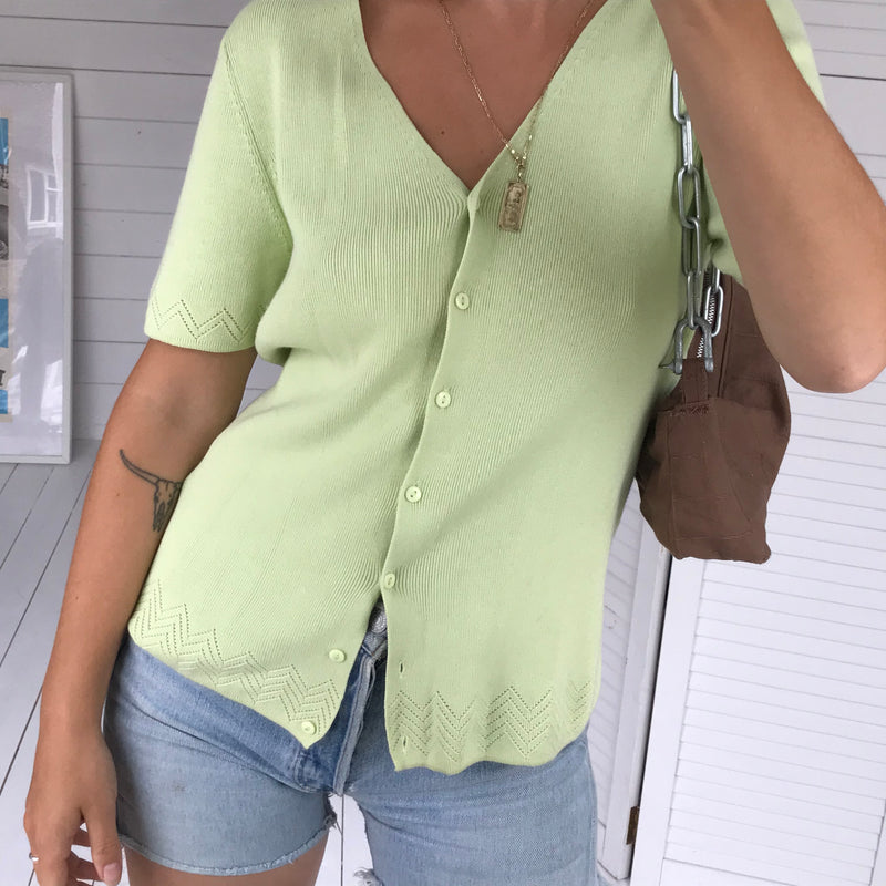 Vintage 90s Pastel Green Knitted Fine Ribbed Button Down Cardigan Top