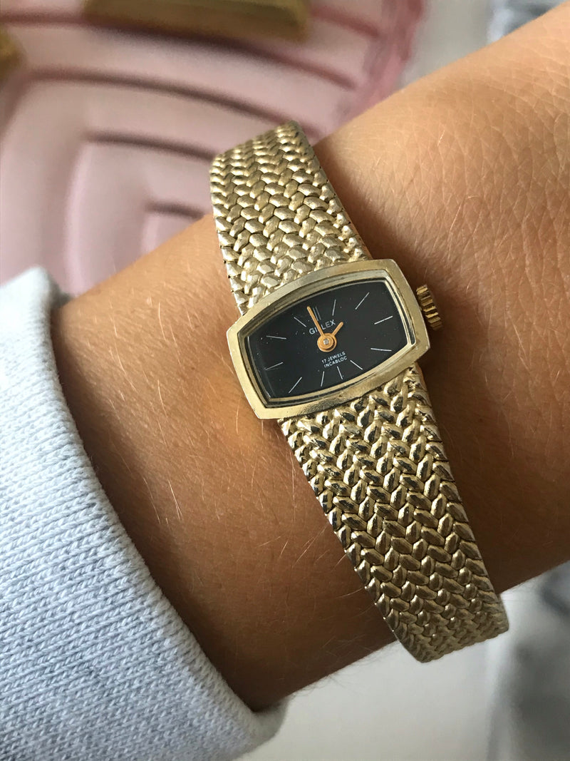 Vintage 70s Gold Tone Mechanical Wrist Watch  (Currently not working)