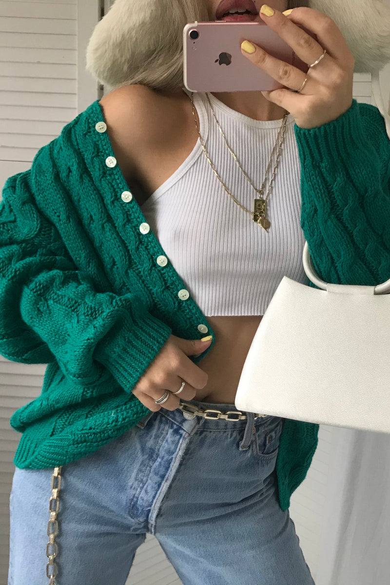 Vintage 90s Emerald Green Cotton & Ramie Blend Cable Knit Cardigan