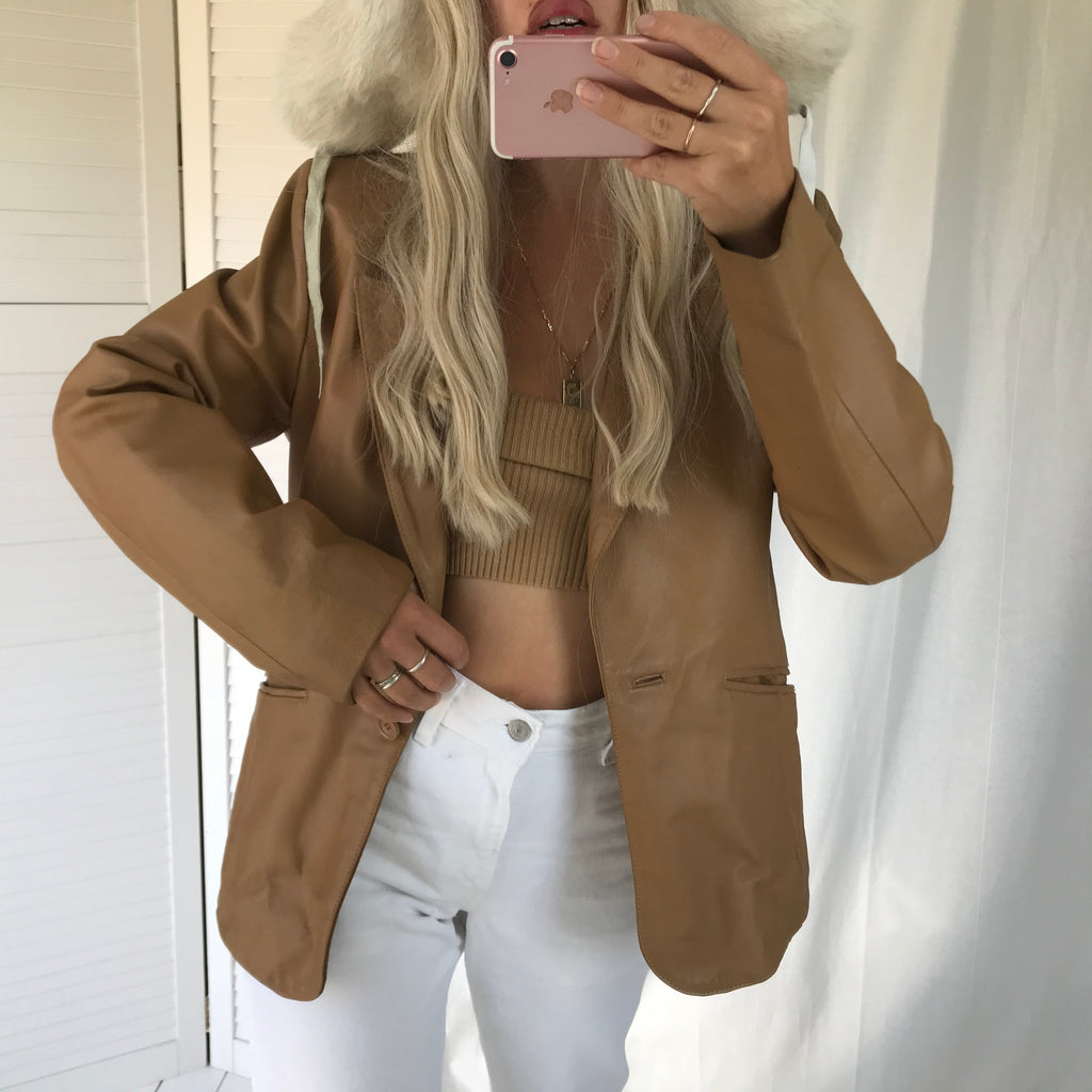 The most perfect Vintage Y2k Tan Genuine Leather Blazer Jacket