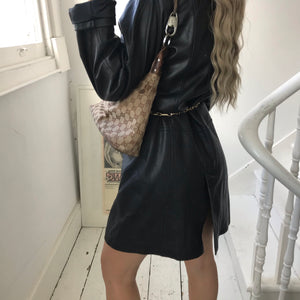 Vintage 90s Long Black Leather Trench Jacket