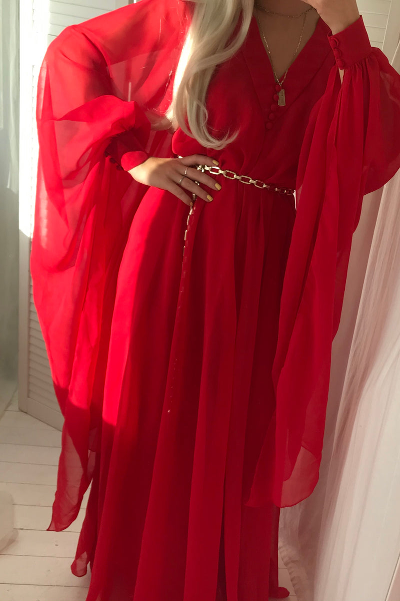 Vintage 1970s Red Evening Dress With Draped Sleeves
