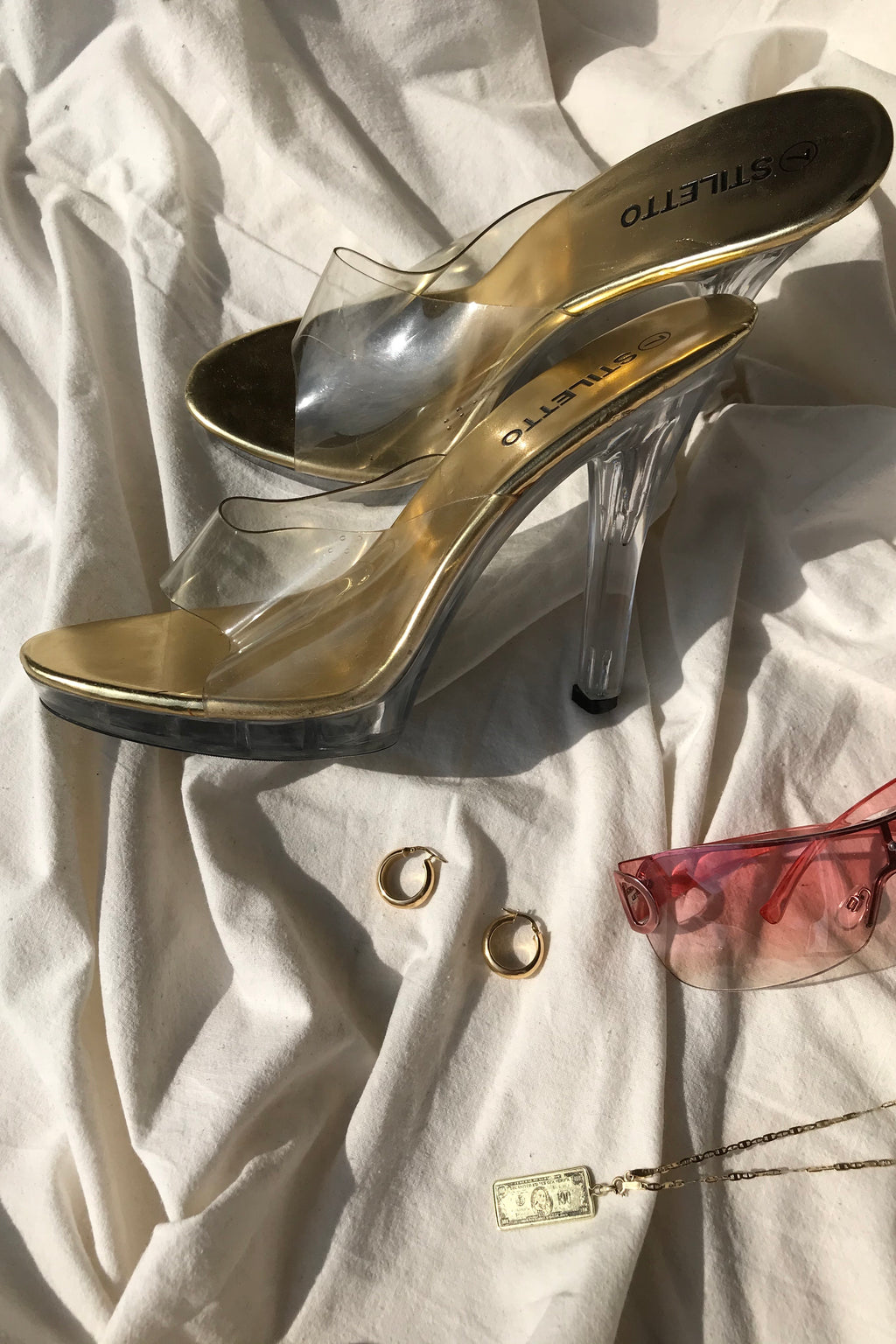 Vintage 90s Gold Sole Clear PVC Slip On Exotic Dancer Platform Stripper Heels