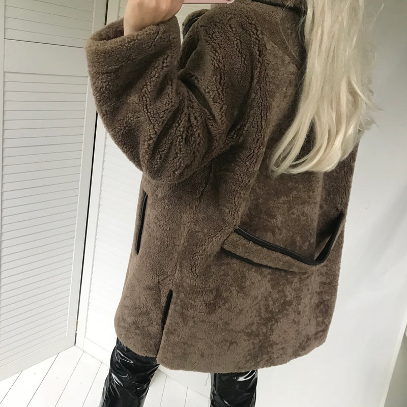 Vintage 1970s Brown Trimmed Sheepskin Pea Jacket