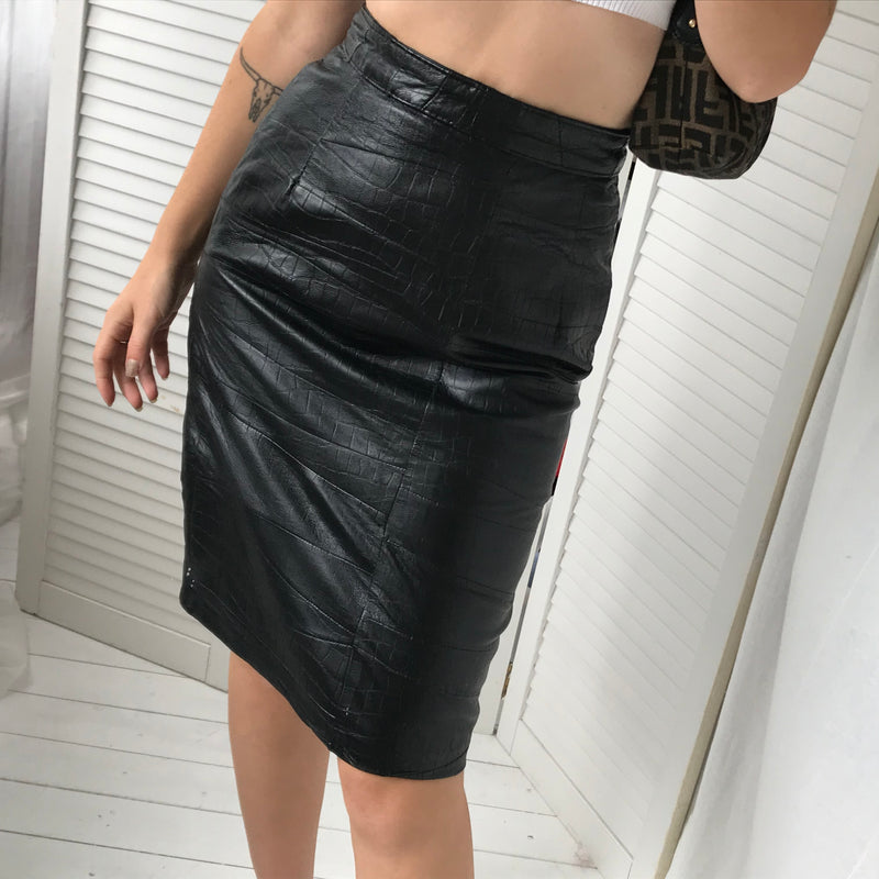 Vintage 80s Real Leather Mock Crock Patchwork Sexy Pencil Skirt