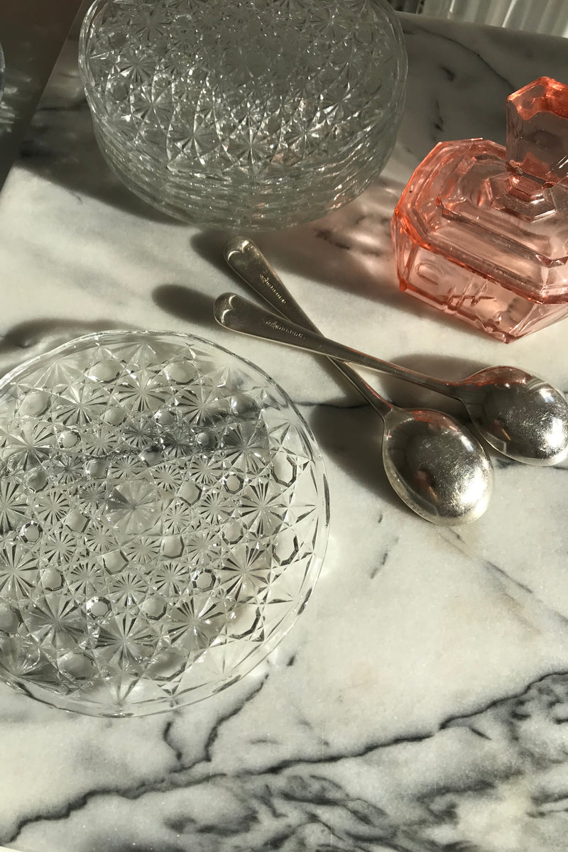 Vintage 1960s Clear Crystal Cut Glass Small Dessert Plates Set Of 6