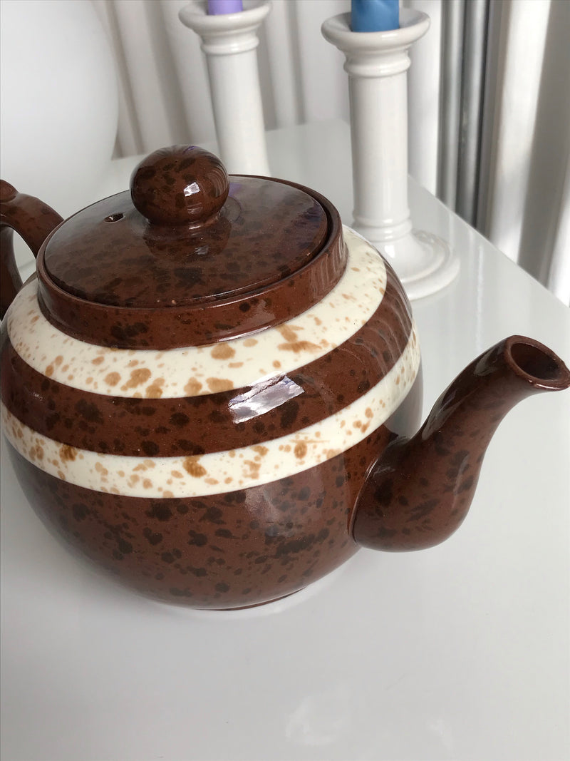 Vintage 1970s Large Brown Specked Ceramic Teapot - Made in England