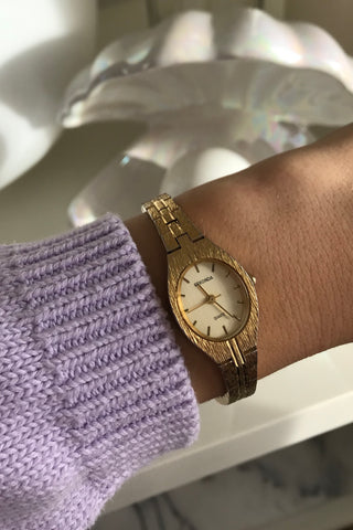 Vintage 70s Oversized Phillip Mercier Gold Tone Quartz Wrist Watch