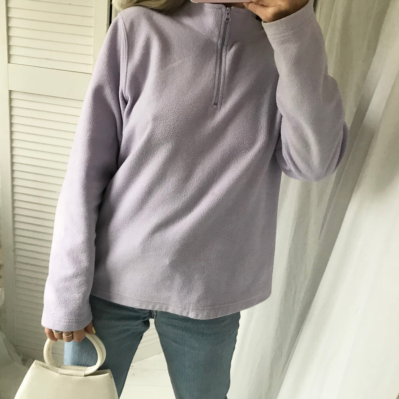 Vintage 90s Y2K Lilac Pastel Purple Fleece 1/4 Zip Up Jumper