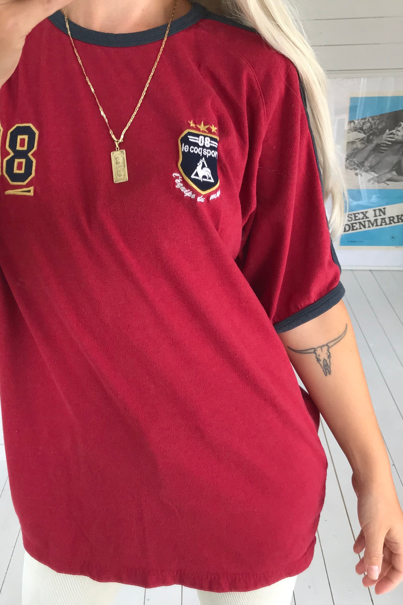 Vintage 90s Y2K Dark Red Le Coq Sportif Sports T-shirt