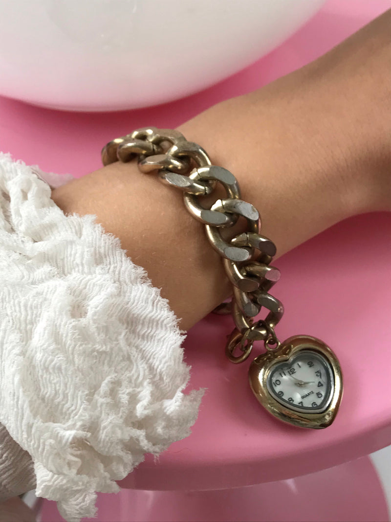 Vintage 1970s Faded Gold Super Chunky Heart Pendant Quartz Wrist Watch