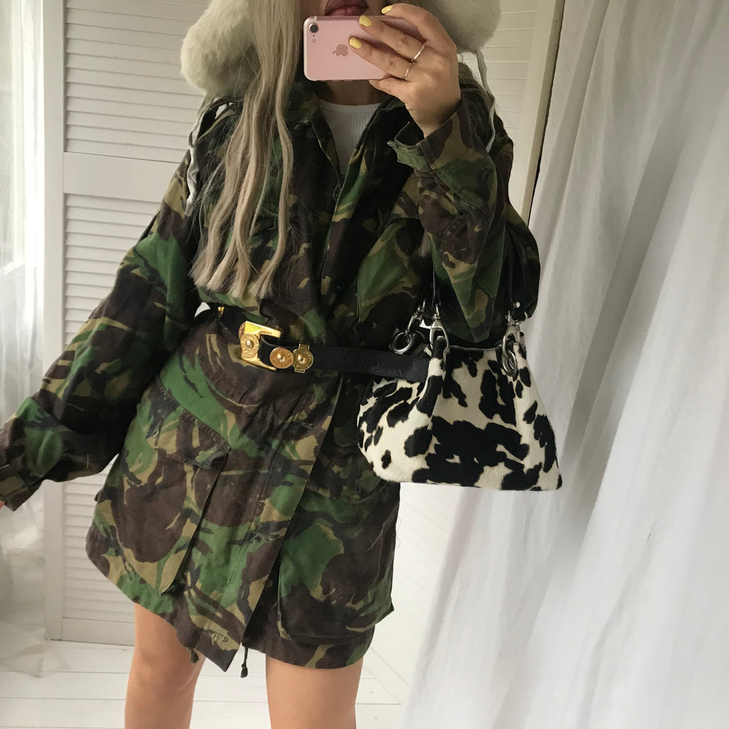 Such a badass Vintage 90s Green Camo Army Print Jacket