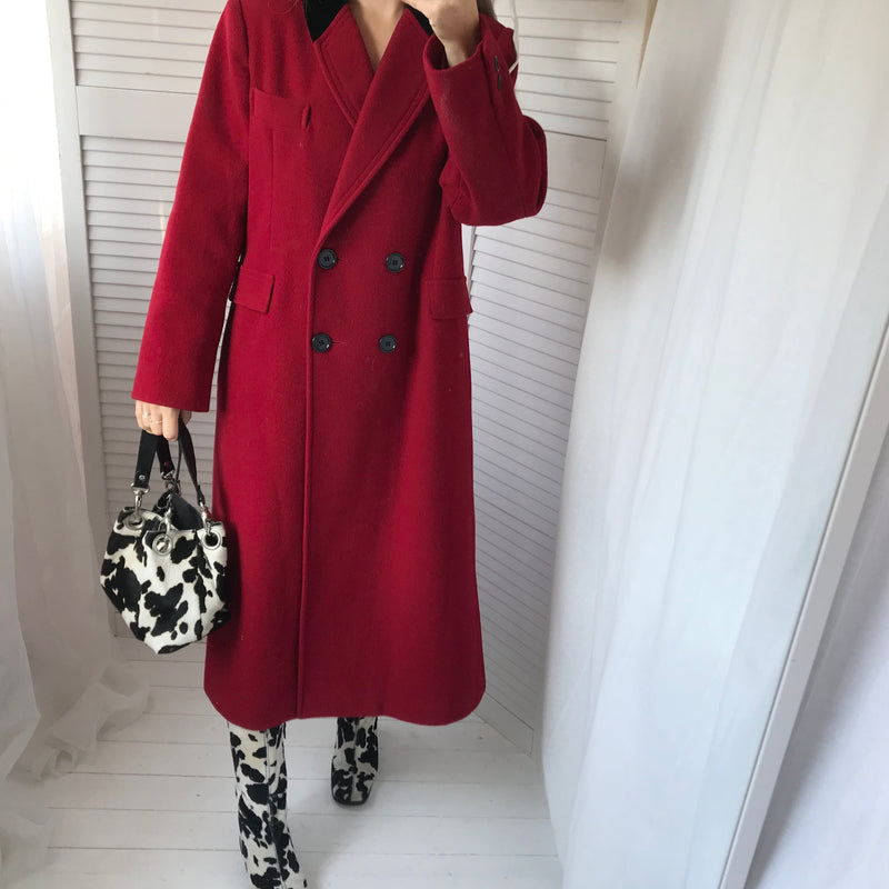 Vintage 90s 100% Wool Long Rose Red Coat With Black Velvet Collar