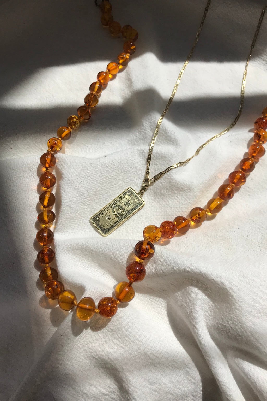 Vintage Kitsch 1970s Plastic Faux Amber Beaded Necklace