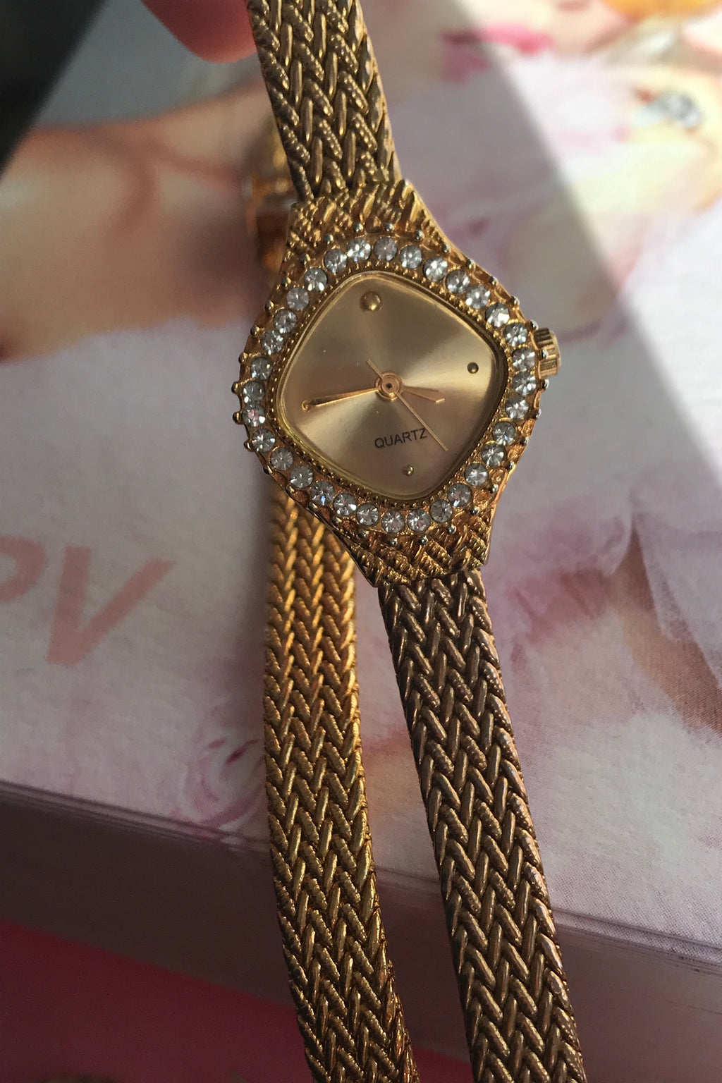 Vintage 80s Diamanté Gold Tone Quartz Watch & Bracelet Set