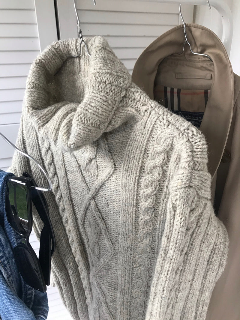Vintage Hand Knitted Chunky Knit Grey Alpaca Wool Turtle Neck Jumper