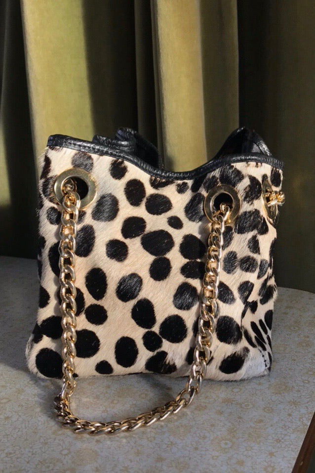 Vintage Pony Skin / Cow Hide Dalmatian Animal Print Mini Handbag With Chunky Good Chain Strap