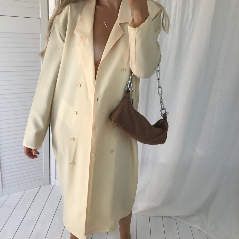 Vintage 80s Palest Yellow Double Breasted Long Blazer Dress