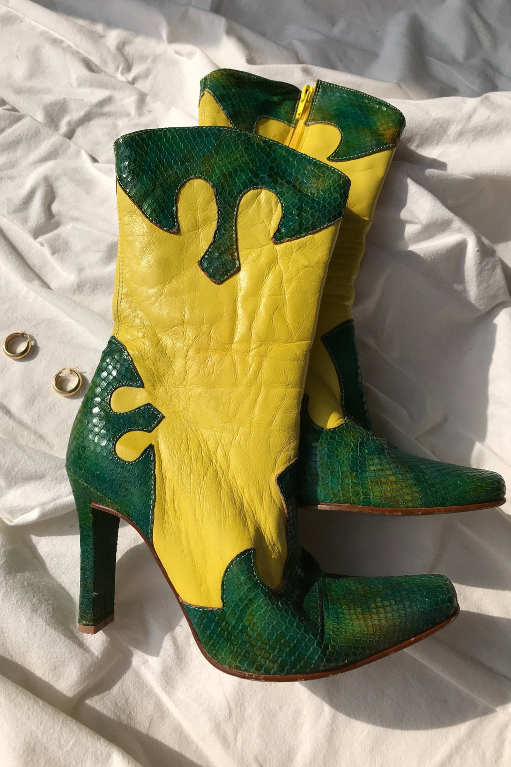 Vintage 90s Real Leather Yellow & Green Faux Snakeskin Western Boots
