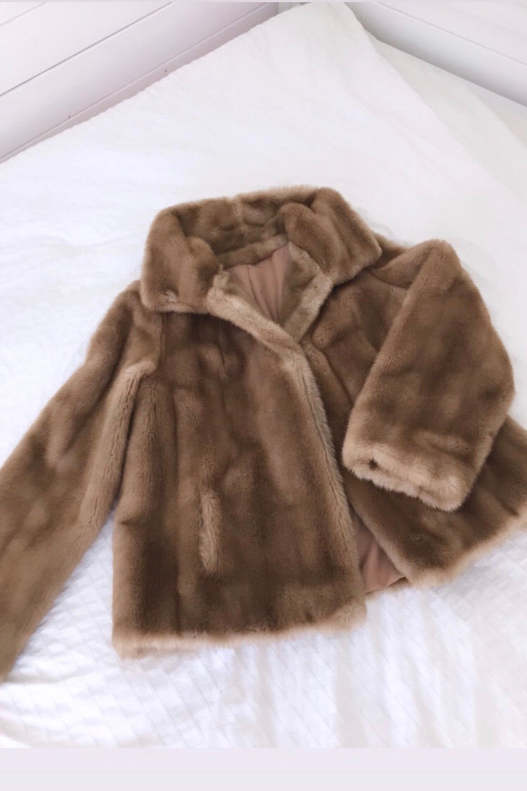 Vintage 70s Caramel Brown Faux Mink Simulation Fur Jacket