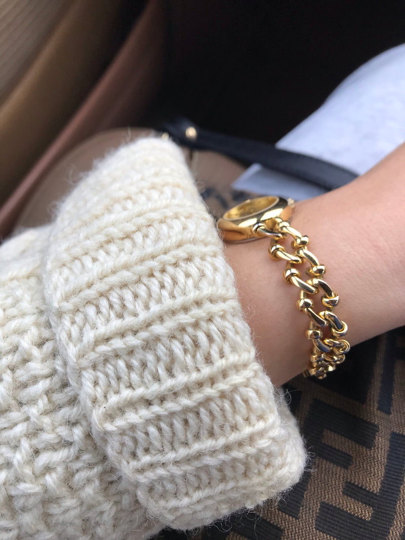 Vintage 90s Chunky Gold Tone Chain Wrist Watch