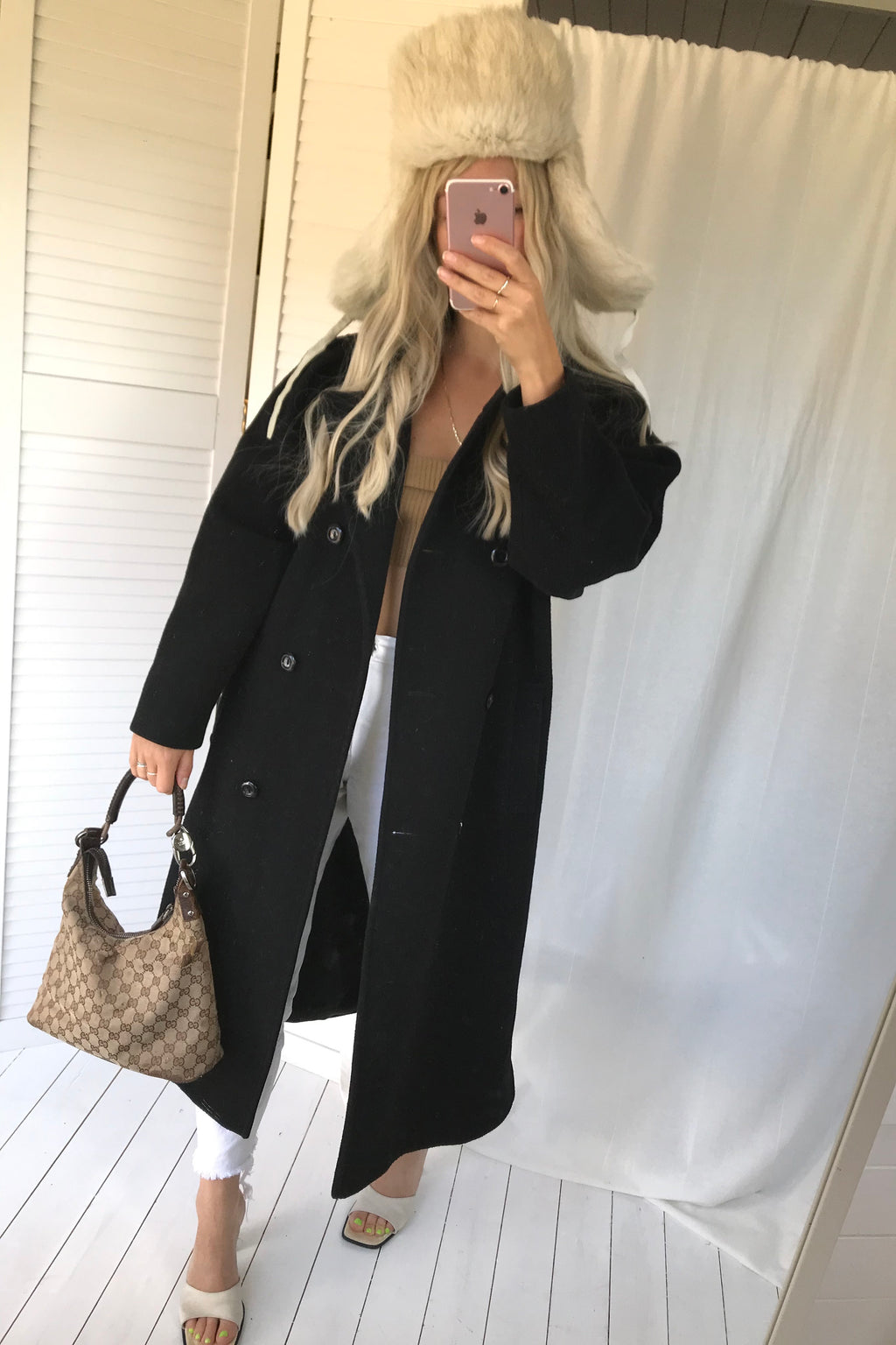 The most incredible Vintage 80s Black Real Wool Long Jacket