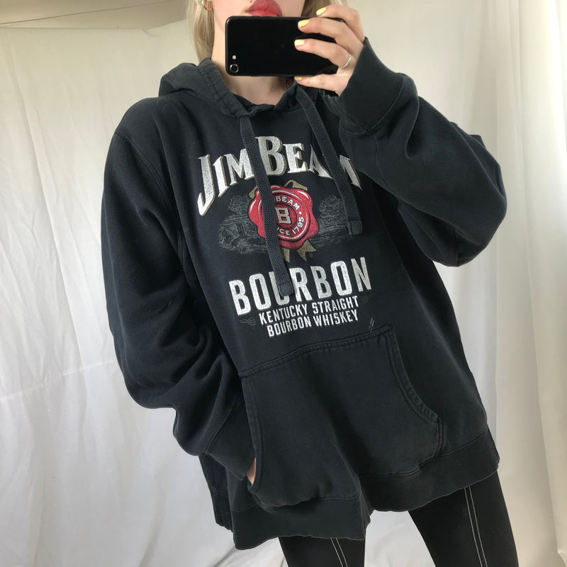 Rare Vintage 90s Authentic Jim Beam Whiskey Washed Out Faded Black Cotton Hoodie