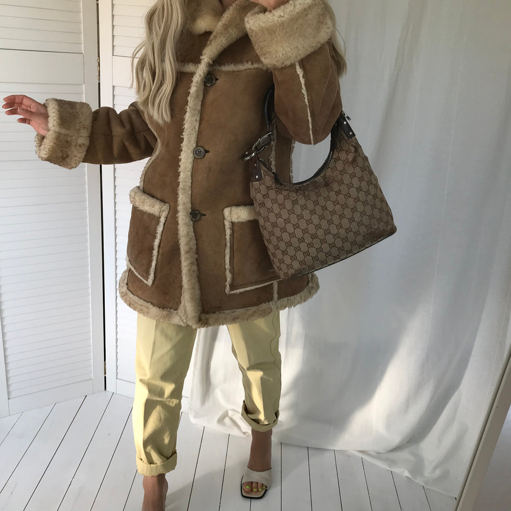 Super Warm & Cozy Vintage 70s Tan 100% Suede Shearling Sheepskin Coat
