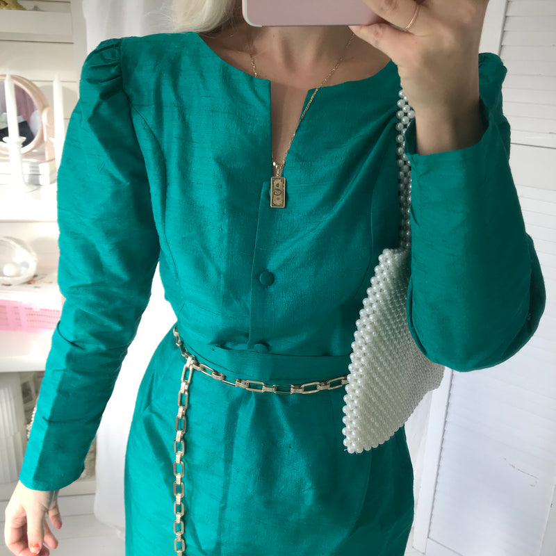 Rare Vintage 1980s Matt Silk Emerald Green Two Piece Pencil Skirt & Blouse With Puffy Sleeves