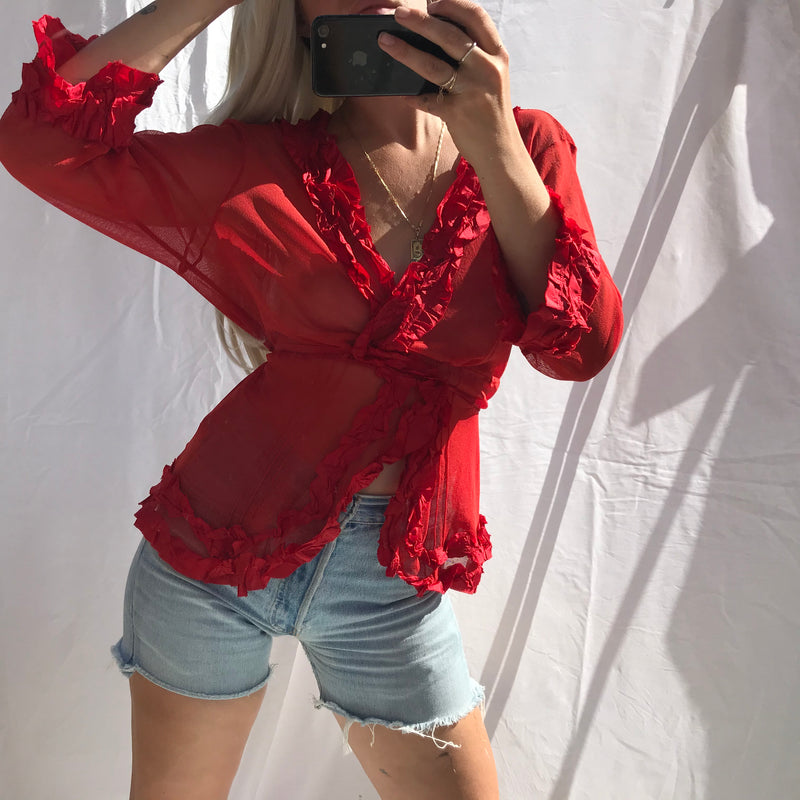 Vintage 90s Y2K Cherry Red Sheet Blouse With Ruffle Trim