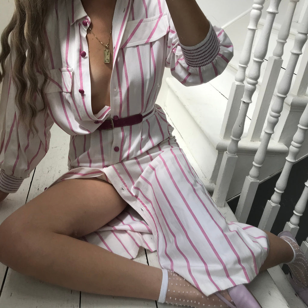 Vintage True 80s White & Pink Striped Cotton Button Down Midi Dress