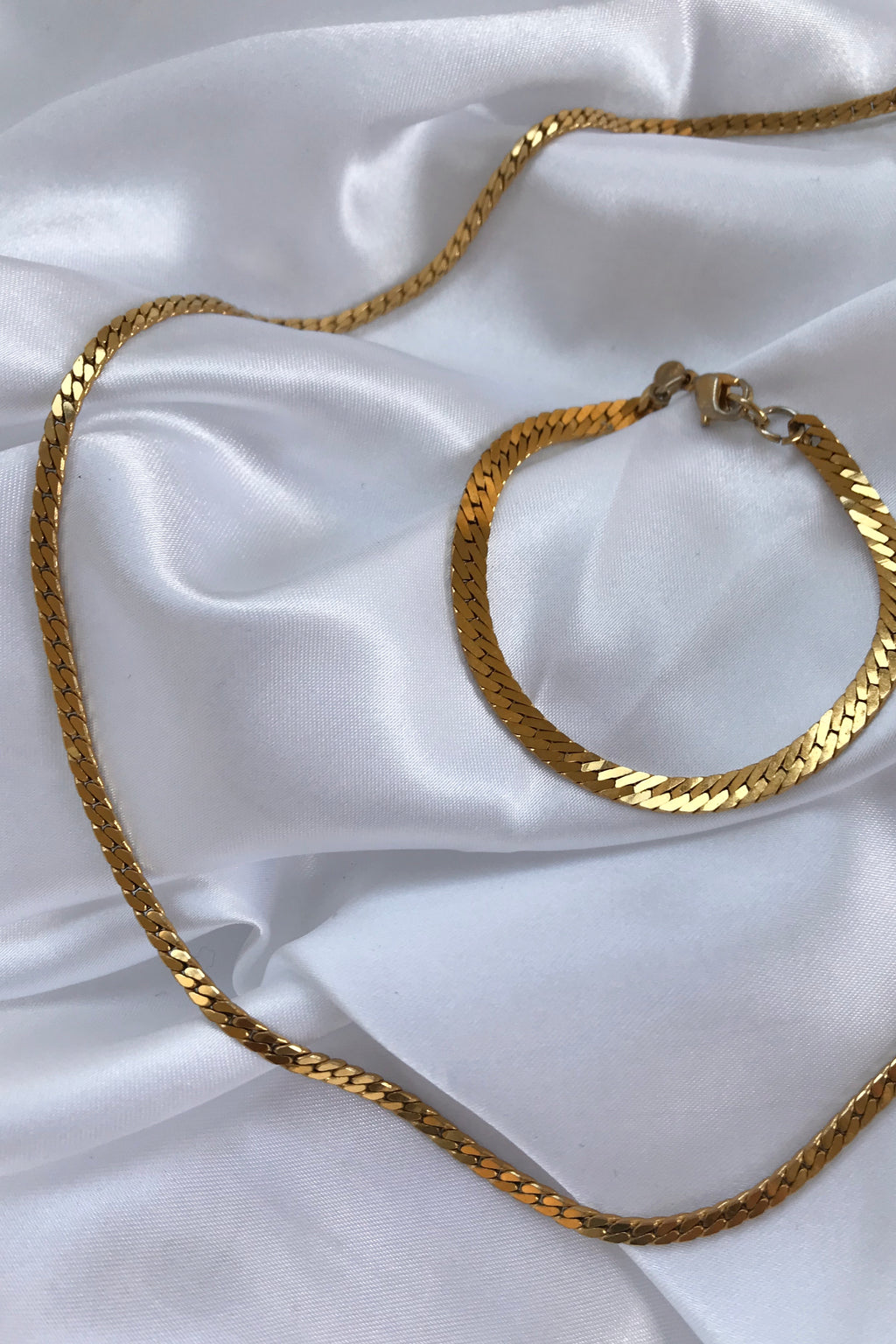Vintage 90s Gold Plated Gold Tone Chain Necklace & Bracelet Set By Monet