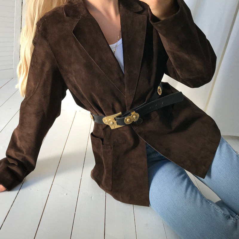 Vintage Y2k Chocolate Brown Butter Soft Nubuck Suede Blazer Jacket