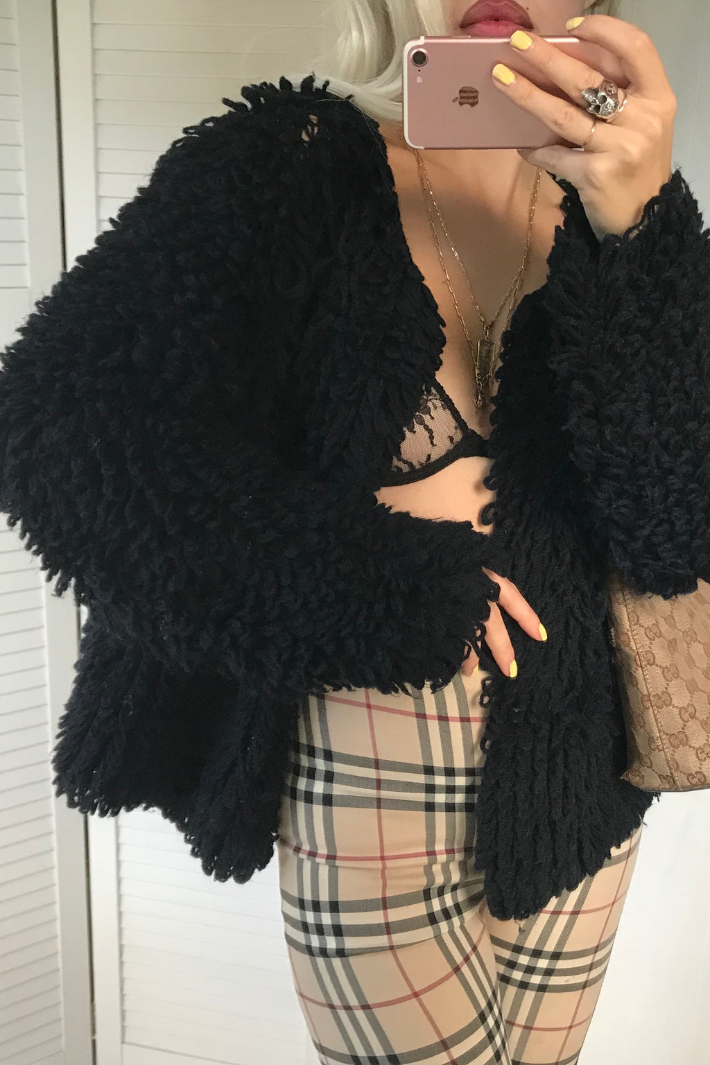 Vintage 1970s Black Shaggy Loop Knit Cardigan