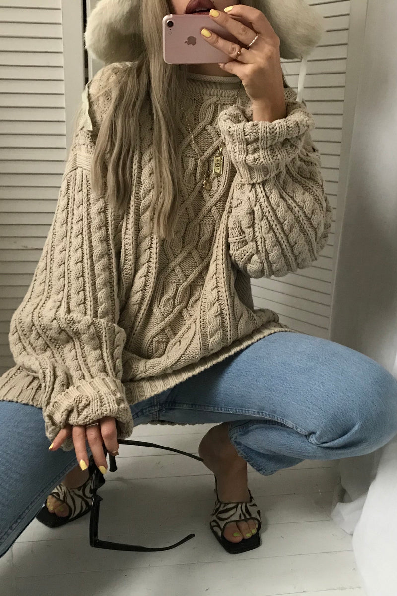 Vintage Y2K Beige 100% Cotton Cable Knit Aran Knitted Oversized Jumper