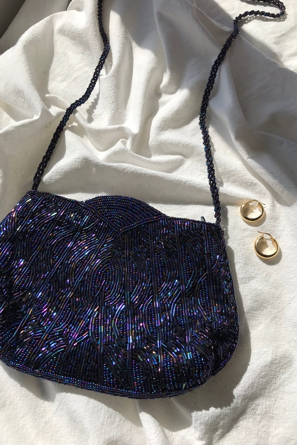 Vintage 1990s y2k Blue Sequinned Mini Handbag With Long Straps