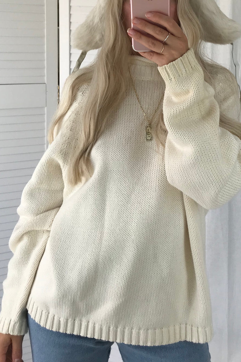 Vintage Y2K Cream Chunky Knitted 100% Cotton Jumper