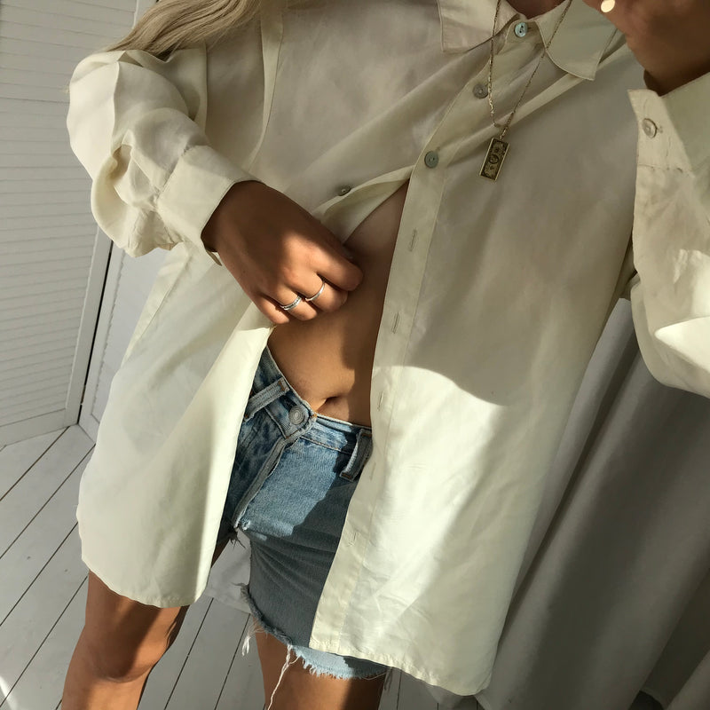 Vintage 90s Cream Real Silk Oversized Shirt Blouse