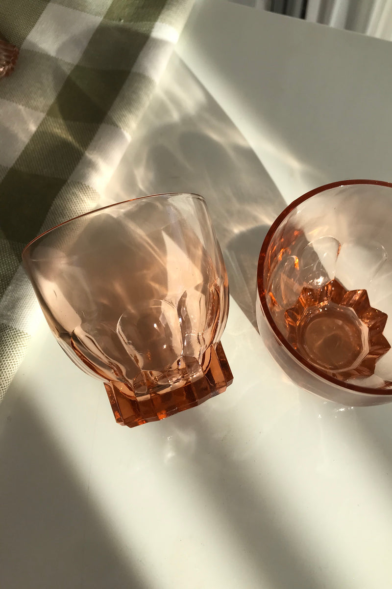 Vintage 1960s Peach Cut Glass Drinking Glasses