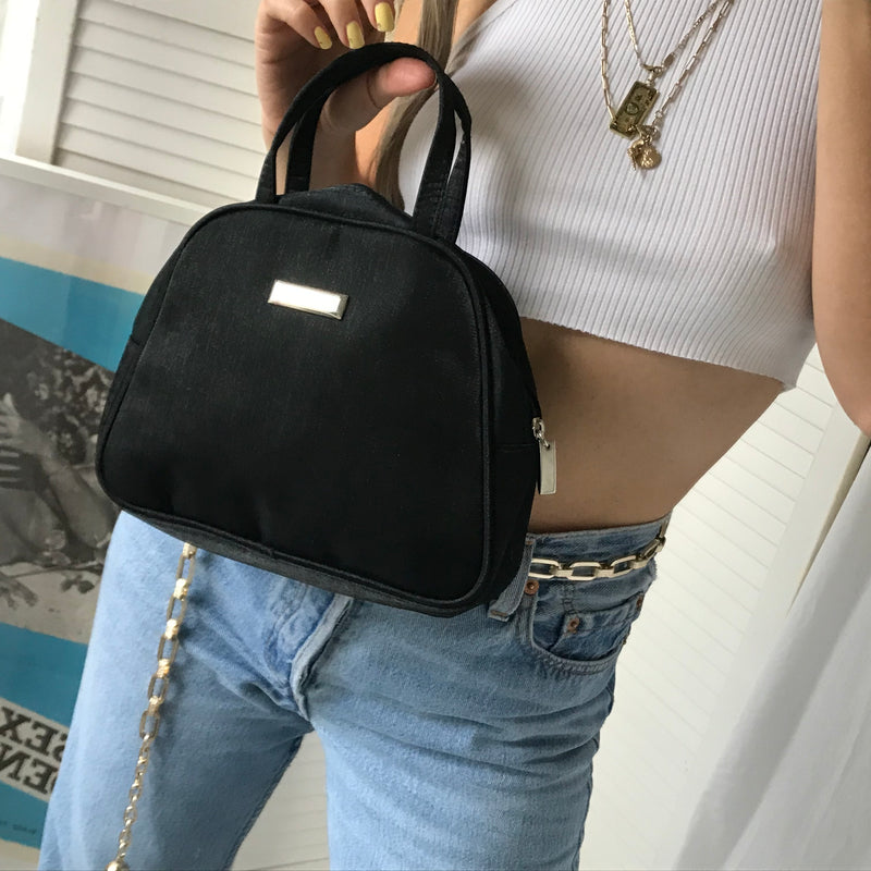 Vintage 90s Y2K Black Nylon Feel Mini Top Handle Handbag