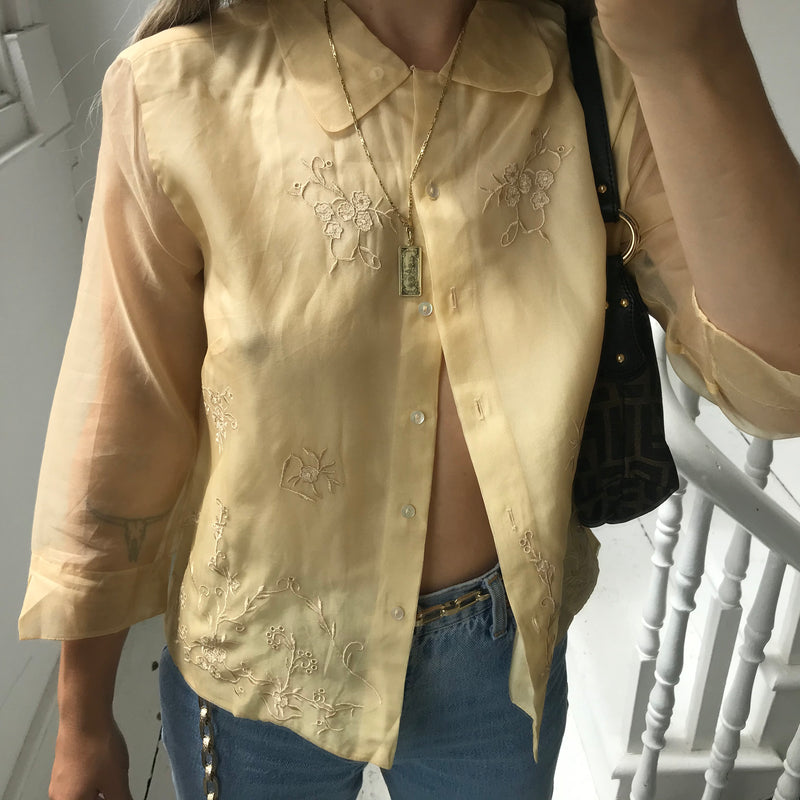 Vintage 90s Y2K Butter Yellow Sheer Silk Blouse
