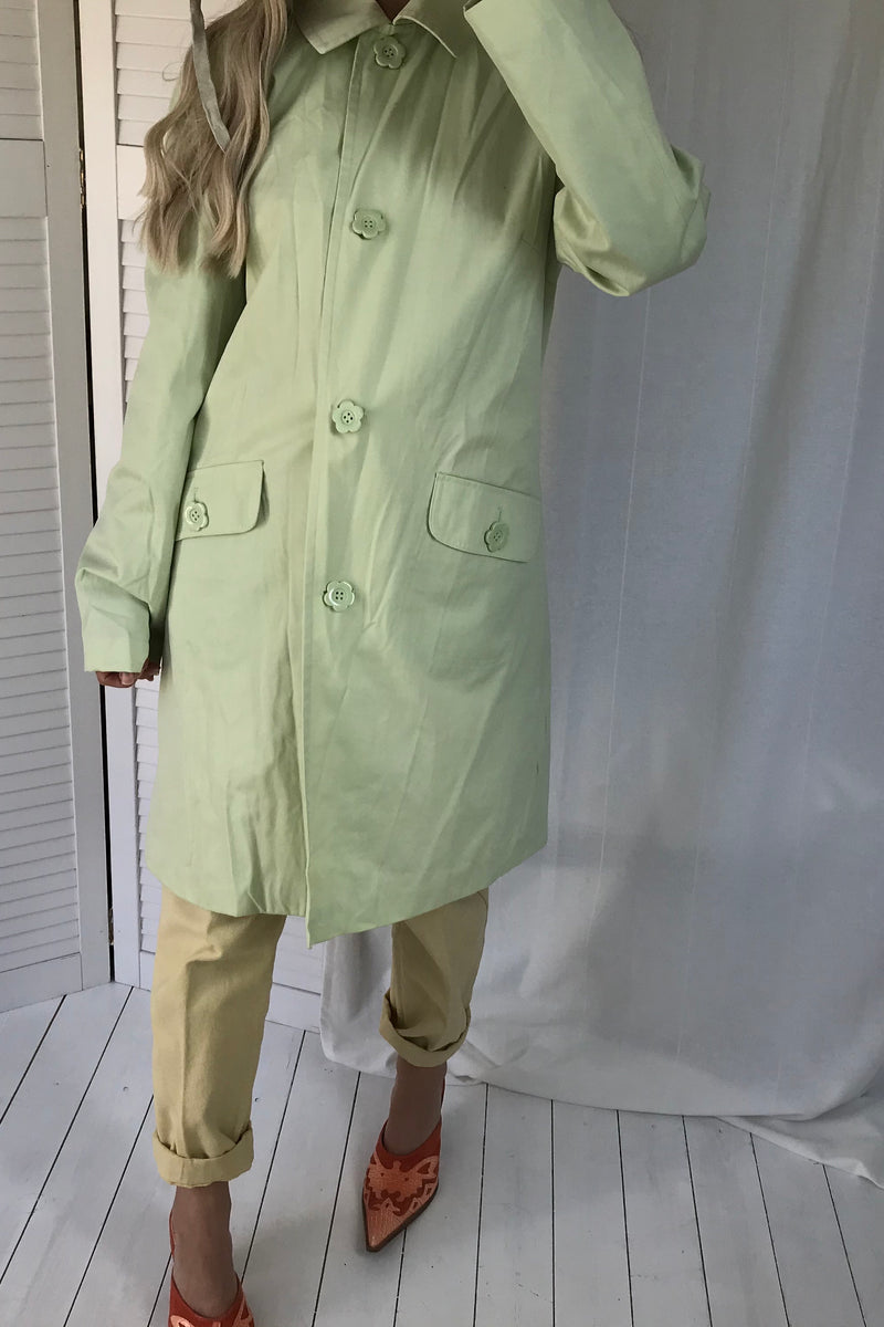 Vintage Y2K Pastel Green Trench Mac 'Nylon Feel' Jacket With Flower Buttons