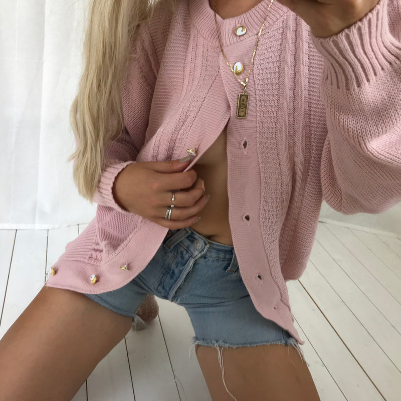 Vintage 80s / 90s Pastel Dusty Pink Knitted Cardigan