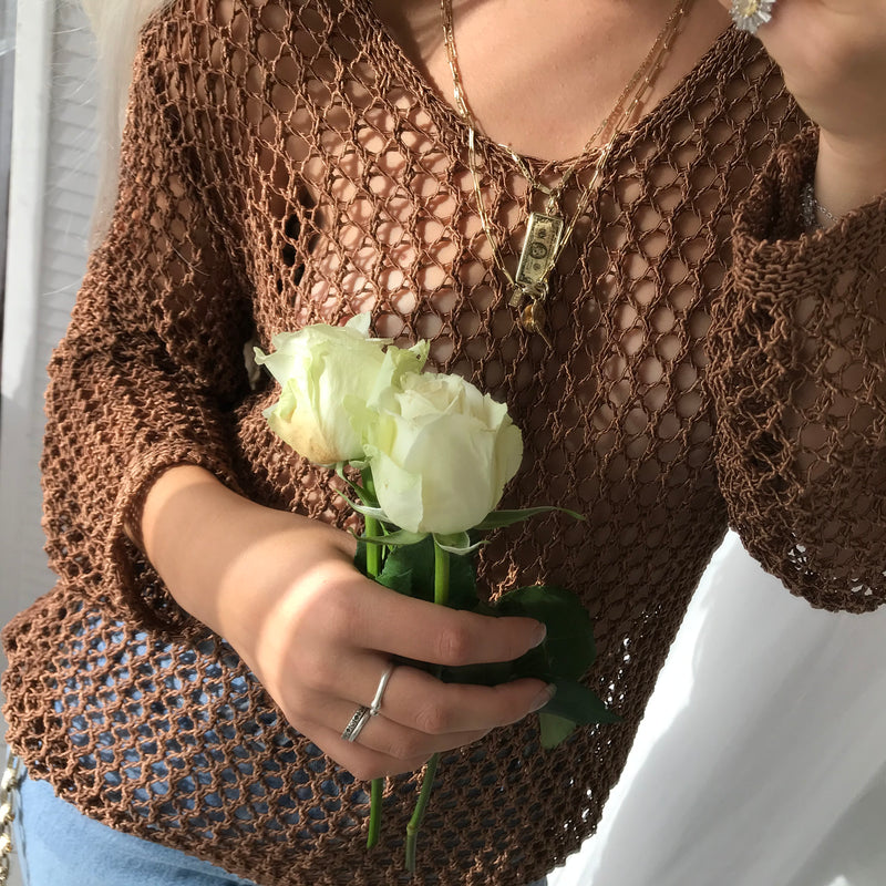 Vintage 90s Brown Crochet Top