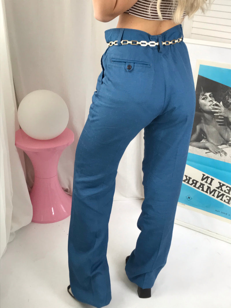 Vintage True 1970s Blue Tapered Suit Trousers (unisex)