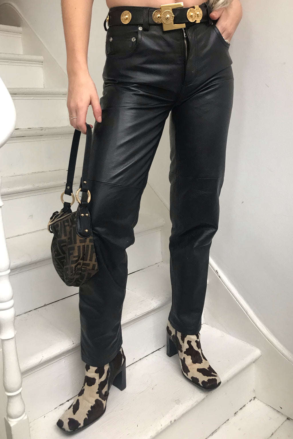 Vintage 80s Black Biker Babe 100% Leather Trousers