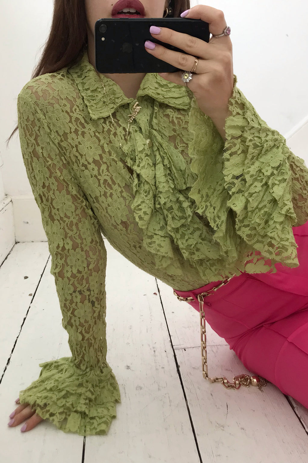Rare Vintage 60s Lime Green Lace Ruffle Trim Blouse